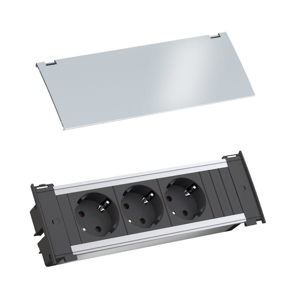 Bachman Kapsa 3 inbouw stopcontacten NL aarding Aluminium