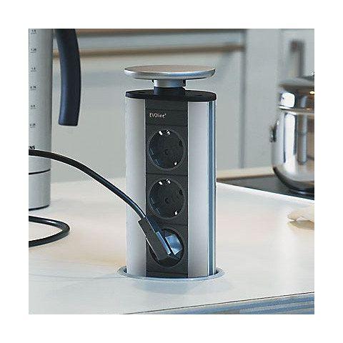 Evoline Port Cuisine (3x 230V) VEVO3 Uittrekbaar stopcontact Aluminium
