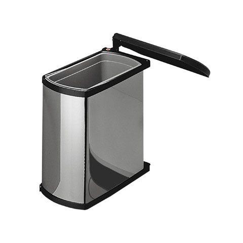 Hailo Uno 18 liter inbouw prullenbak RVS-Zwart 3418.10