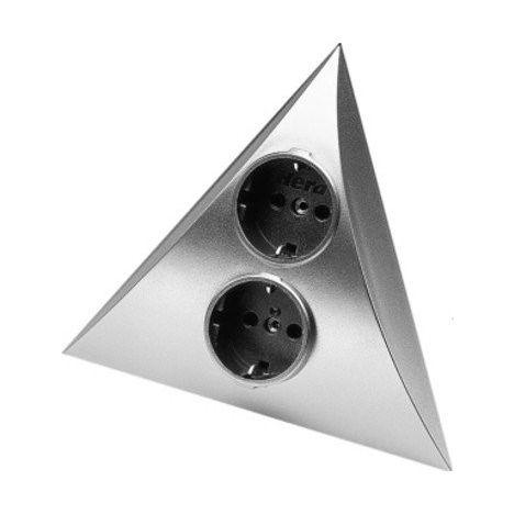 Hera hoekstopcontact 2-voudig RVS-Look
