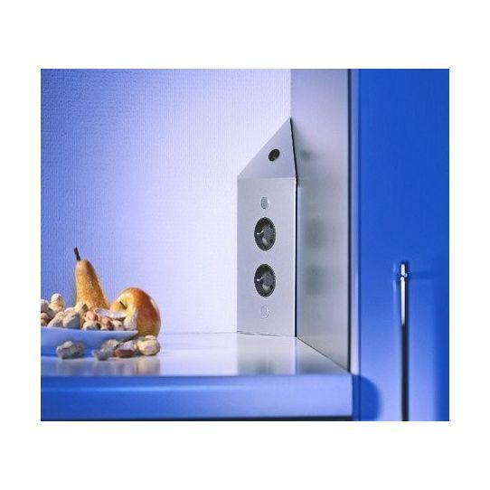 Hoekstopcontact met schakelaar RVS 17596/200/2C