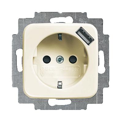Inbouw stopcontact met usb oplader Creme-Wit