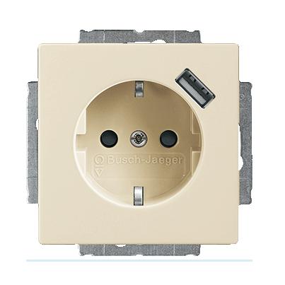 Inbouw stopcontact met usb oplader Creme wit - elektrowit