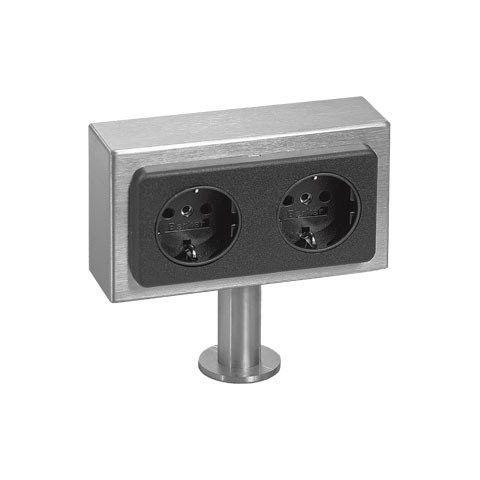 Kookeiland stopcontact 2 voudig RVS VSAT2 17006